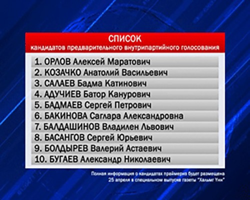 В Калмыкии утвержден список кандидатов для участия в праймериз