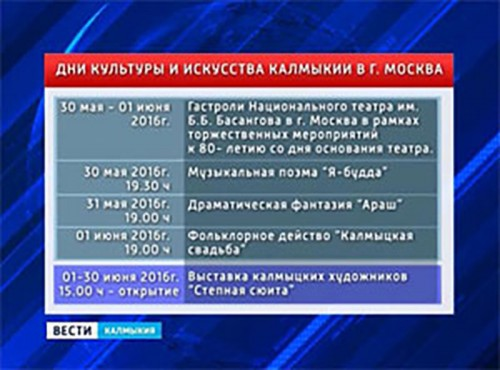 В Москве готовятся к проведению Дней культуры и искусства Калмыкии
