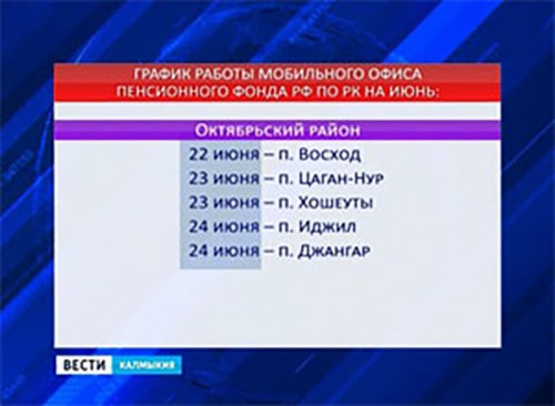 Мобильная клиентская служба ПФР посетит 8 населенных пунктов Калмыкии