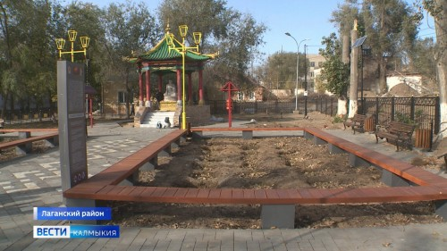 Обновленный сквер у ротонды статуи Будды скоро украсит центр Лагани