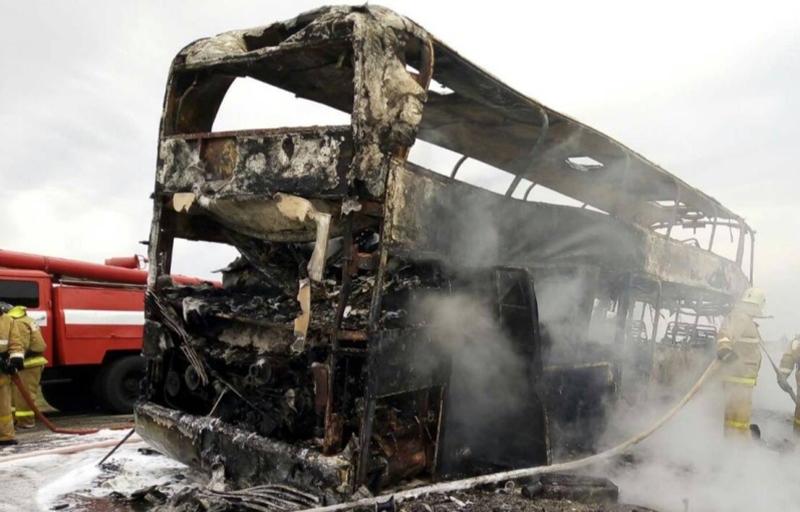 В Яшкульском районе произошло возгорание автобуса
